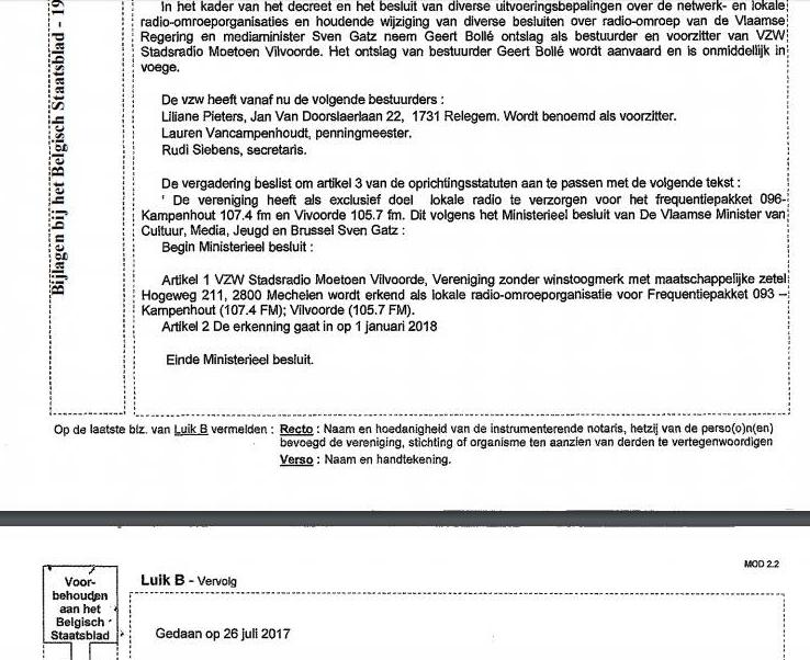 ontslagbrief bestuurder vzw voorbeeld Wijzigingen, goedkeuringen en de verhuis van kavel 096 – RadioVisie