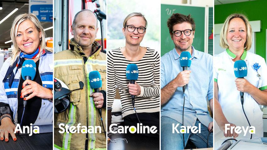 Joe wordt Anja, Stefaan, Caroline, Karel en Freya